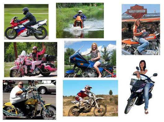 Different types of motorcycle riders: All good.