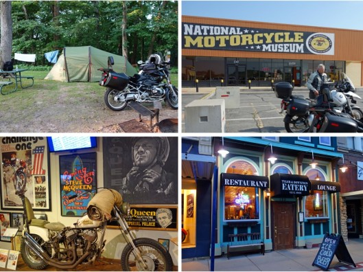 1. Campsite near Anamosa, IA: 2. My riding buddy Jeff in front of the National Motorcycle Museum; 3. Steve McQueen's Indian Scout; 4. Tyler & Downings on Main Street Anamosa.