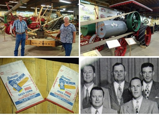 1. David Kluemper, museum curator, and sister Forothy. 2. Kitten steam tractor designed and built in Dubois County, IN. 3. Burger's Premium seed corn bags on wall of museum. 4. Emil Burger (center) at 8th grade class reunion during 1960s.