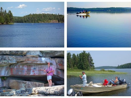 1. Loons on Dryberry Lake; 2. Motoring across glass-like water; 3. James photographing petroglyphs; 4. Jeff and Ethan fishing for big ones.
