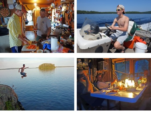 1. John and James preparing chow; 2. James piloting the boat across the lake; 3. James posing while taking a high jump; 4. Telling tall tales after a hard day fishing.