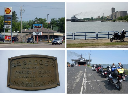 1. Two Angels Family Restaurant in Antigo, WI; 2. At the harbor in Manitowoc, WI. The SS Badger getting ready for departure across Lake Michigan; 3. SS Badger nameplate; 4. Motorcycles lined up ready to board the Badger.