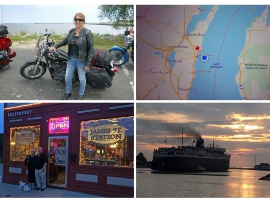 1. A Harley Davidson rider named Sue in line for boarding the SS Badger; 2. Map on my iPhone showing us about a quarter of the way across the Lake Michigan; 3. Skip, his wife and poodle in front of his restaurant in Ludington, MI; 4. The SS Badger sailing into the sunset.