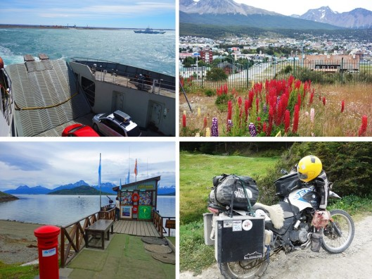 1. View of Tierra del Fuego from the ferry crossing the Strait of Magellan; 2. City of Ushuaia; 3. Southern-most post office in the world; 4. The way I want to travel to Ushuaia next time.