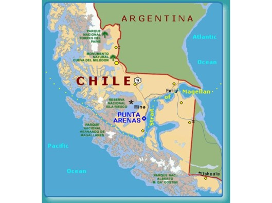 Southern Chile and Argentina. Note travel route from Punta Arenas to Ushuaia.