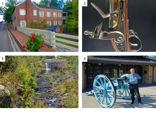 1. Home of Andrew Johnson, 17th President of the U. S.; 2. Rifle used during the Civil War battle at Chickamauga; 3. Little River Canyon in NE Alabama; 4. Visitor's Center at Horseshoe Bend Battlefield, AL.
