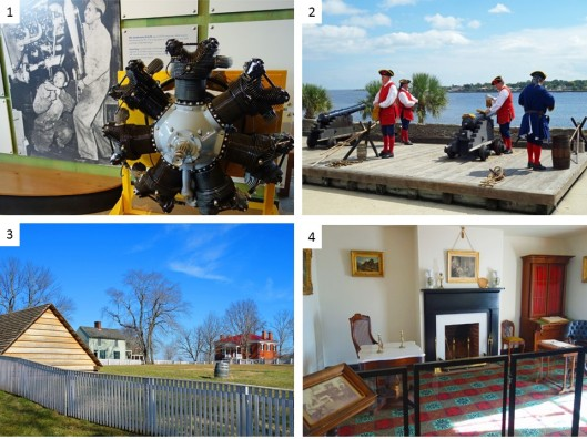 1. Tuskegee Airmen museum; 2. Loading canons at Castillo de San Marcos at St. Augustine, FL; 3. Appomattox Courthouse where the Civil War ended; 4. The parlor of the McLean house where General Lee surrendered to General Grant.