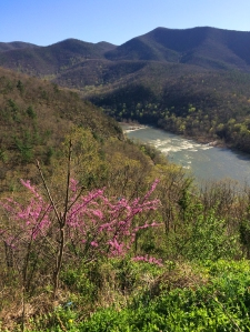 Springtime at the James River Gap through the Blue Ridge Mountain Range.