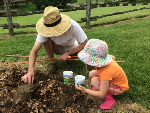 Ben and Helen digging worms. Clara was not interested in this activity.