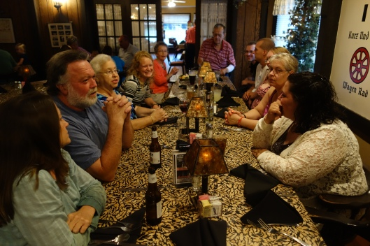 Part of the Burger Clan (but only 15 of 115 descendents of my Mother and Father); at the Schnitzelbank Restaurant in Jasper, IN