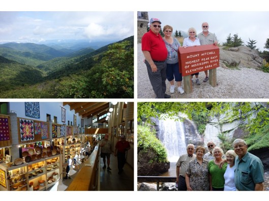 1. Endless ridges seen from Mt. Mitchell; 2. The highest peak east of the Mississippi river; 3. The NC Folk Arts Center on the Parkway; 4. All of us at Looking Glass Falls.