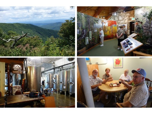 1. The Pisgah National Forest; 2. Visitor Center on Forest Heritage Scenic Byway; 3. French Broad Brewery; 4. Sampling all the brews.
