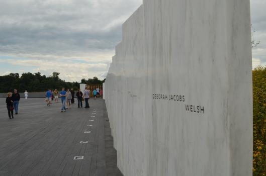 The wall of pillars at Flight 93 Memorial