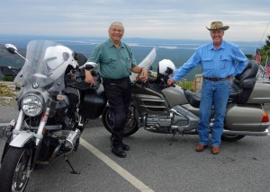 Jim and riding buddy Bennett atop Cadillac Mountain within Acadia National Park