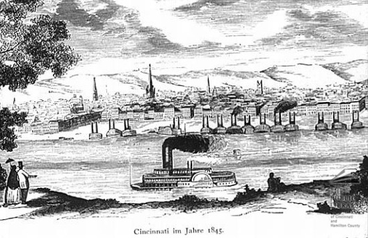 Cincinnati riverfront circa 1840-1850.