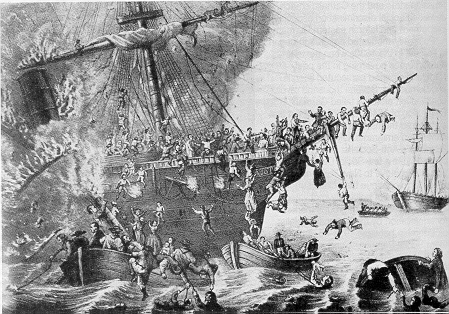 "On Sept. 13, 1858, fire broke out on the ""Austria"" on her way from Hamburg to New York. Only 89 of 542 souls could be saved."