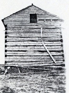Now in disrepair and used as a corn crib, Jacob moved his family to this existing log cabin after buying his farm.