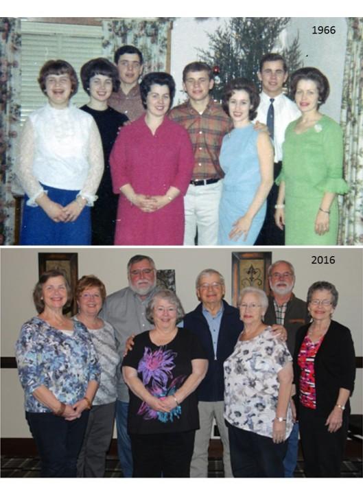 Eight Burger Siblings, 1966-2016: Rosie, Sadie, Don, Margye, Jim, Dorothy, Ted, LouElla