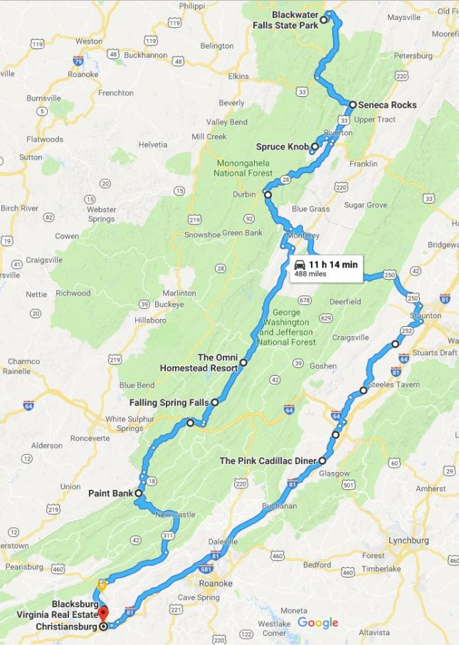 NRV Motorcycle Trip WV Map